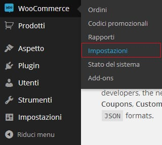 impostazioni woocommerce ecommerce WordPress
