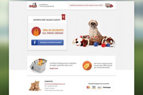 Landing Page delipetshop.com