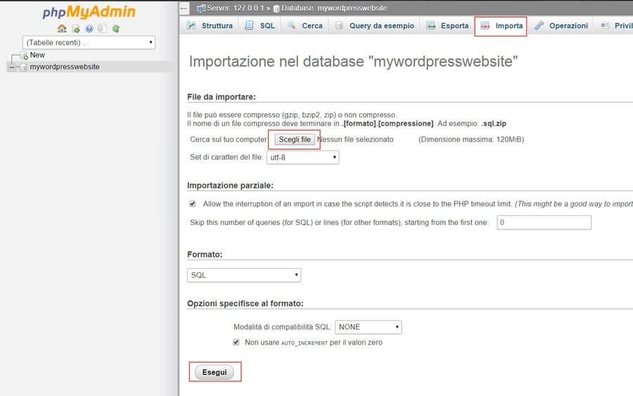 Importare database in phpmyadmin