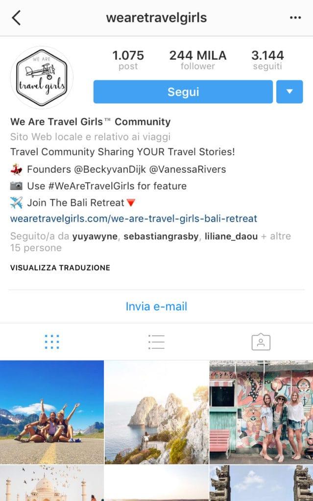 informazioni profilo Instagram di successo